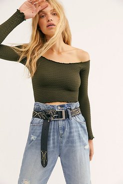 Textured Long Sleeve Crop by Intimately at Free People, Hunter Green, M/L