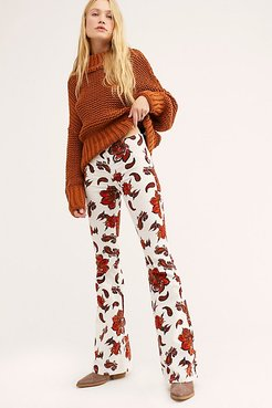 Pull On Corduroy Printed Flares by We The Free at Free People, French Garden, 28
