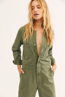 Union Coverall by Lee at Free People, Vintage Olive, M
