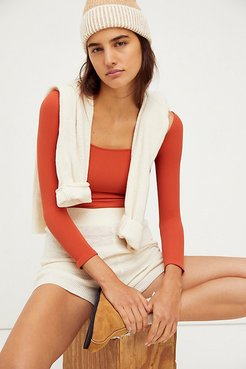 Square Neck 3/4 Sleeve Top by Intimately at Free People, Dark Orange, XS/S