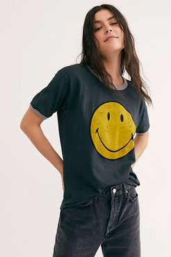 Classic Smiley Ringer Tee by Daydreamer x Free People at Free People, Black, XS