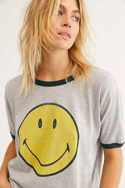 Classic Smiley Ringer Tee by Daydreamer x Free People at Free People, Heather Grey, XS