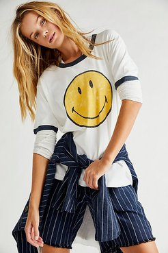 Classic Smiley Ringer Tee by Daydreamer x Free People at Free People, White, M