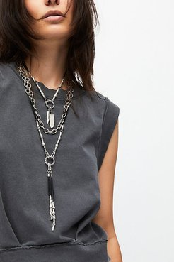 Emery Wide Link Pendant Necklace by Free People, Black / Silver, One Size