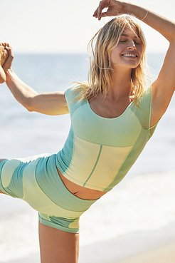 Point Break Colorblock Crop by FP Movement at Free People, Green Mist Combo, XS/S