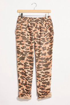 Animal Camo Fray Patch Pants by Monrow at Free People, Spice, S