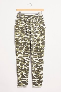 Animal Camo Fray Patch Pants by Monrow at Free People, Evergreen, S