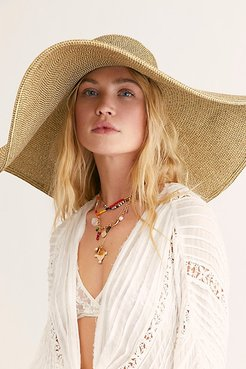 Shady Character Packable Wide Brim Hat by Free People, Multi Brown, One Size