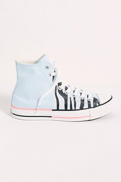 Chuck Taylor All Star-Hi Zebra Sneakers by Converse at Free People, Agate Blue / Electric Blush, US 6