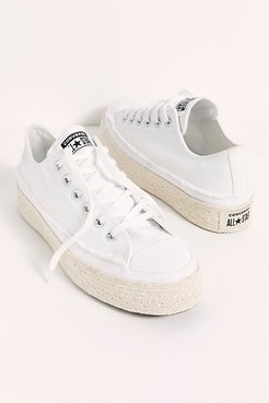 Chuck Taylor All Star Espadrille Sneakers by Converse at Free People, White / Black / Natural, US 9