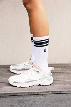 Movement Logo Stripe Tube Socks by Lucky Honey at Free People, White, One Size