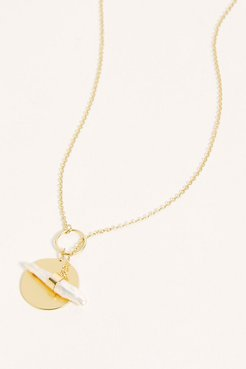 14k Gold Plated Lasso Pendant by Free People, Pearl, One Size