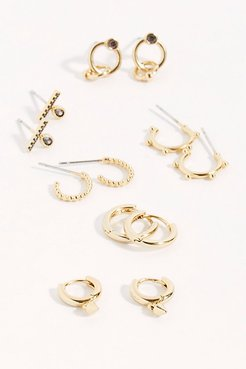14k Gold Plated Huggie Earring Set by Free People, Gold / Rose, One Size