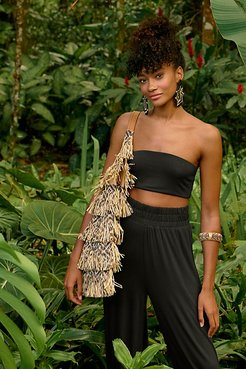 Soleil Raffia Fringe Hobo Bag by FP Collection at Free People, Natural Combo, One Size