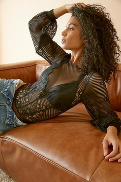 Evelyn Bodysuit by Only Hearts at Free People, Blue Black, M