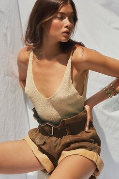 Crackle Leather Paperbag Shorts by Understated Leather at Free People, Brown, S