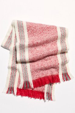 Brushed Racer Stripe Blanket Scarf by Free People, Red Combo, One Size