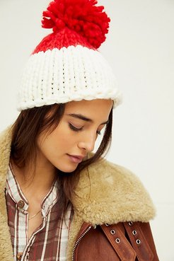 Cozy Up Color Block Pom Beanie by Collection XIIX at Free People, Ivory / Red, One Size