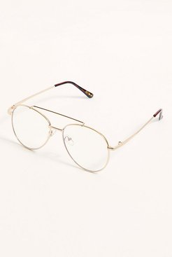 Riley Blue Light Glasses by Free People, Gold, One Size