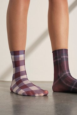 Vivienne Plaid Sheer Socks by Richer-Poorer at Free People, Blackberry Wine, One Size