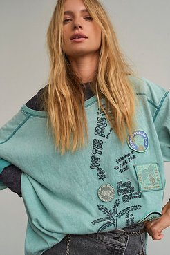 Ivy Tee by We The Free at Free People, Aqua Combo, S