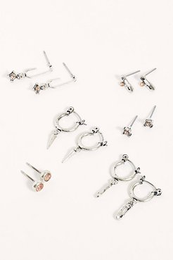 Romantic Rights Stud Set by Free People, Silver / Rose Quartz, One Size