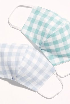 Gingham Mask by Farewell Frances at Free People, Periwinkle, One Size
