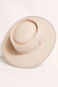 Harlow Felt Boater Hat by Free People, Blush, One Size