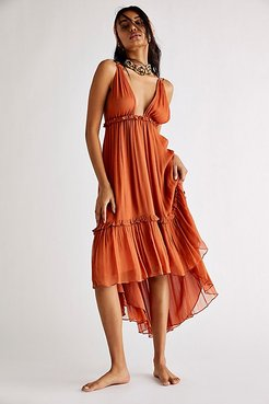 Victoria Plunged Backless Midi Dress by Shona Joy at Free People, Terracotta, US 4