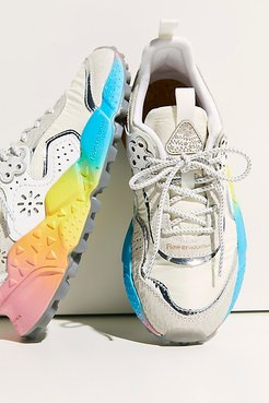 Addison Tie-Dye Sneakers by Flower Mountain at Free People, White Rainbow, EU 38
