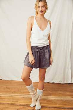 Blush Worthy Silk Shorts by Intimately at Free People, Black Sand, S