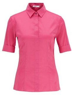 HUGO BOSS - Slim Fit Cotton Blend Blouse With Mock Placket - Pink
