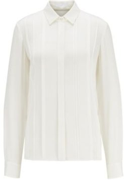 HUGO BOSS - Stretch Silk Blouse With Pintuck Pleats - White