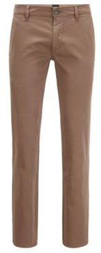 HUGO BOSS - Slim Fit Casual Chinos In Brushed Stretch Cotton - Khaki