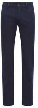 HUGO BOSS - Slim Fit Casual Chinos In Brushed Stretch Cotton - Dark Blue