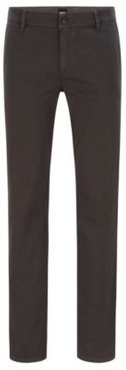 HUGO BOSS - Regular Fit Casual Chinos In Brushed Stretch Cotton - Dark Grey