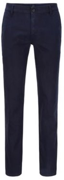 HUGO BOSS - Regular Fit Casual Chinos In Brushed Stretch Cotton - Dark Blue