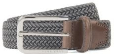 HUGO BOSS - Woven Belt With Polished Metal Hardware - Dark Grey
