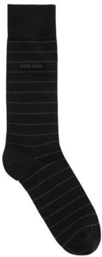 HUGO BOSS - Striped Socks In A Combed Cotton Blend With Stretch - Black