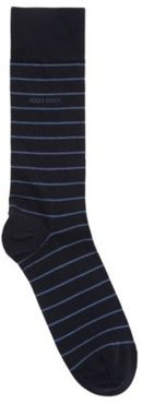 HUGO BOSS - Striped Socks In A Combed Cotton Blend With Stretch - Dark Blue
