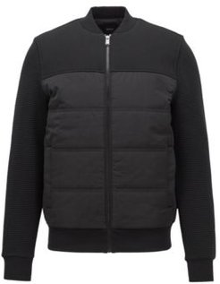 HUGO BOSS - Bomber Style Sweatshirt With Padded Body And Textured Sleeves - Black