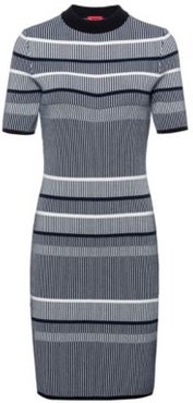 BOSS - Slim Fit Knitted Dress In Striped Super Stretch Fabric - Patterned