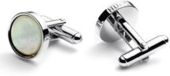 BOSS - Round Polished Metal Cufflinks With Mother Of Pearl Inlays - White