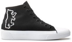 BOSS - High Top Canvas Sneakers With Bear Motif - Black