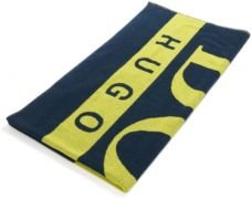HUGO BOSS - Beach Towel In Cotton Terry With Large Scale Logo - Dark Blue