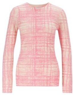 HUGO BOSS - Printed Sweater In Ribbed Virgin Wool - Patterned