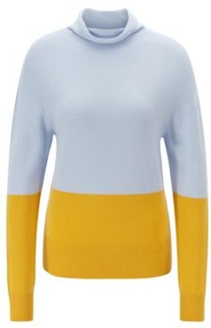 HUGO BOSS - Seamless Color Block Sweater In Pure Cashmere - Patterned