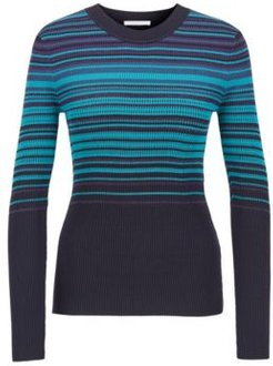 HUGO BOSS - Crew Neck Sweater With Colorful Stripes And Metalized Fibers - Patterned