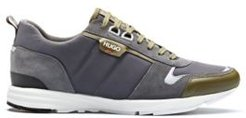 BOSS - Low Top Sneakers In Leather, Suede And Structured Nylon - Light Grey