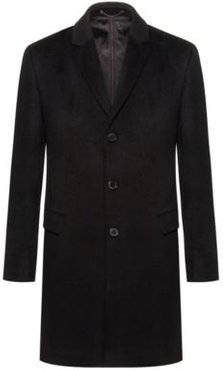 BOSS - Slim Fit Coat In Pure Cashmere With Signature Stitching - Black